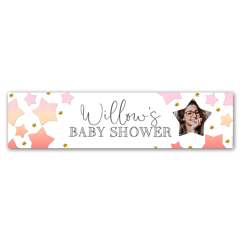 Pink Ombre Stars Baby Shower Personalised Photo Banner - 1.2m