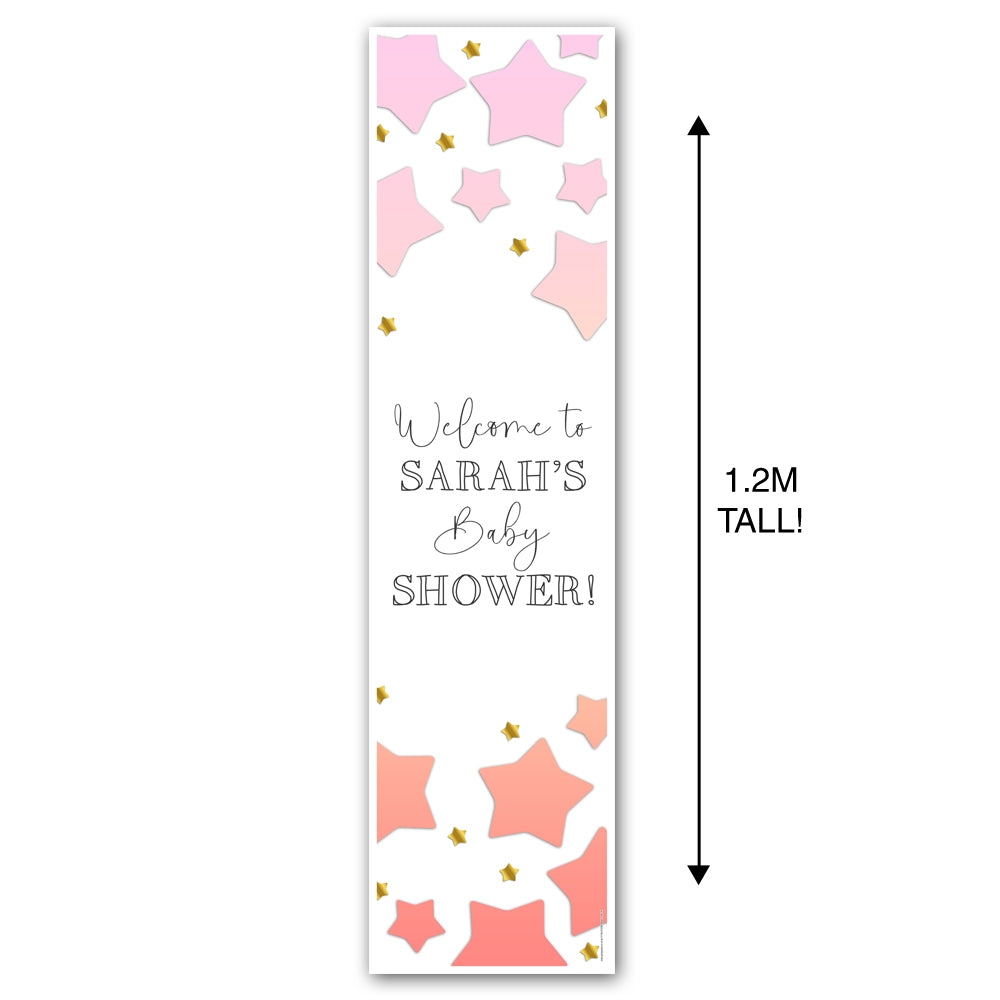Pink Ombre Stars Baby Shower Personalised Portrait Wall & Door Banner Decoration