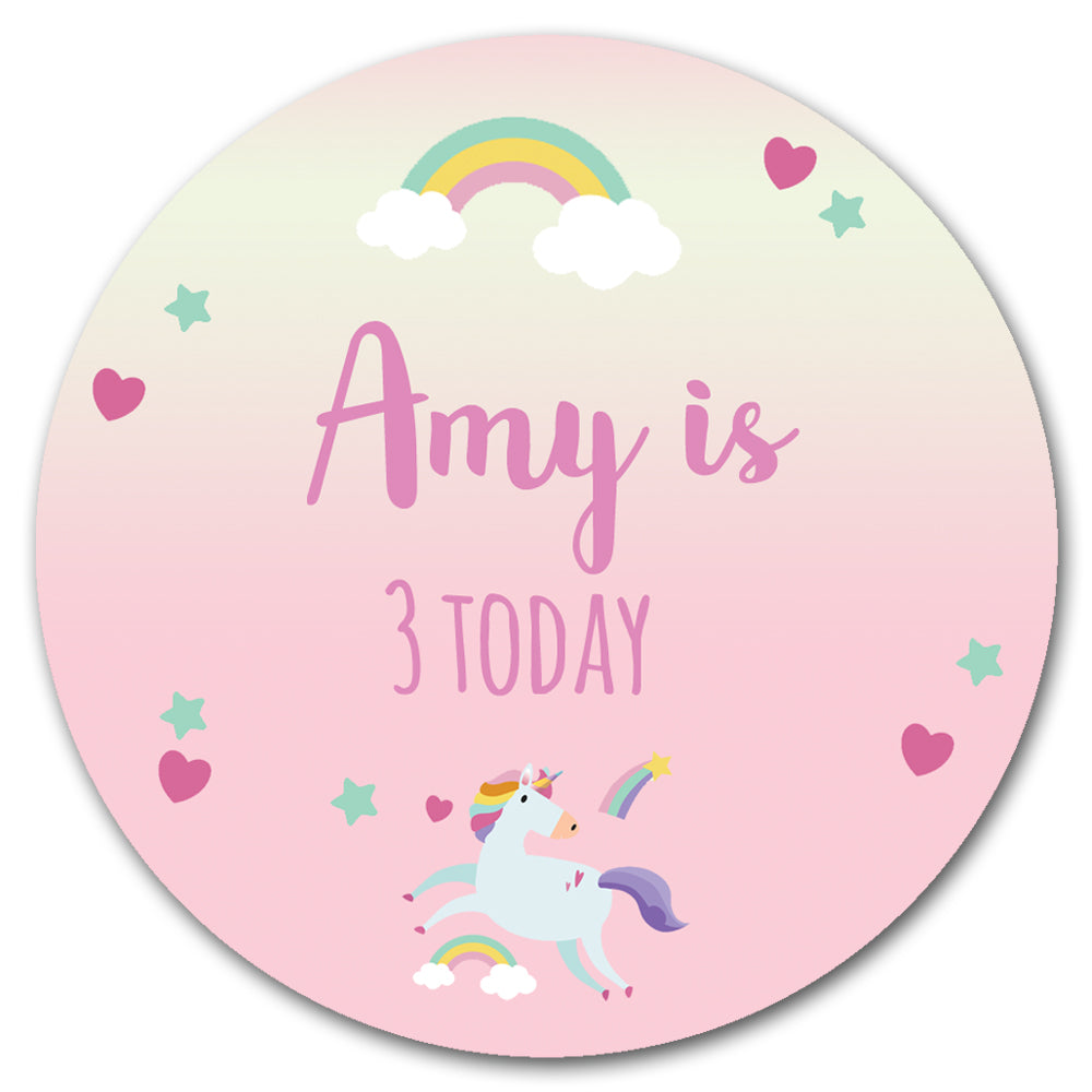 Personalised Badge 58mm - Pink Unicorn