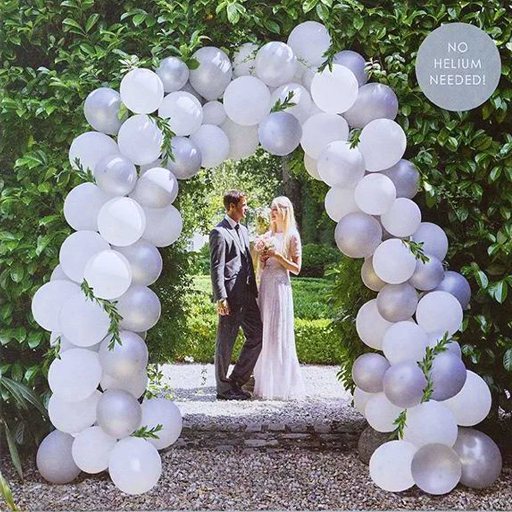 White and Silver Balloon Arch Kit