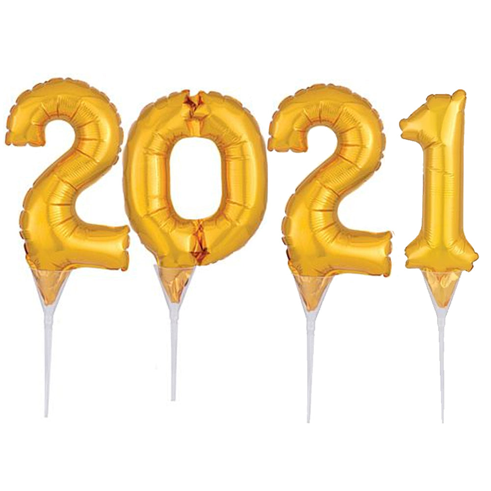 2021 Gold Micro Number Foil Balloon Picks - 15cm - Set of 4