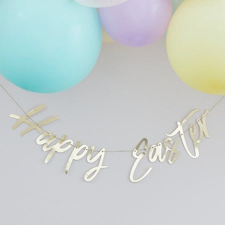 Gold Foil Happy Easter Bunting Banner Decoration - 1.5m