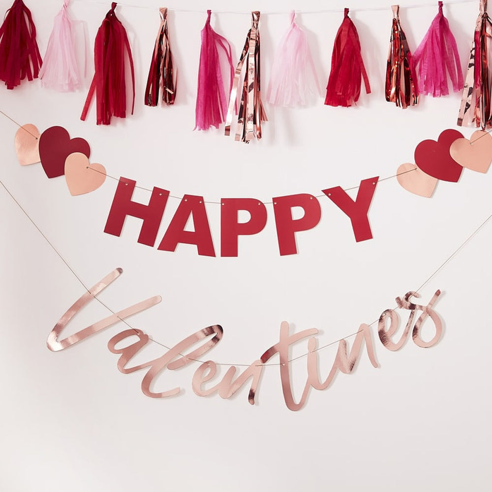 Rose Gold 'Happy Valentines' Bunting With Hearts - 2 x 2m Banners