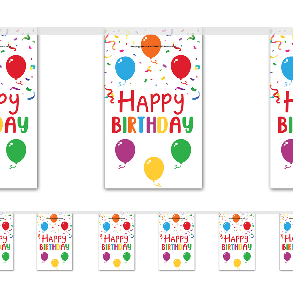 Birthday Balloons Happy Birthday Paper Flag Bunting Decoration - 2.4m