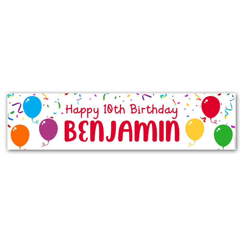 Birthday Balloons Personalised Banner Decoration - 1.2m