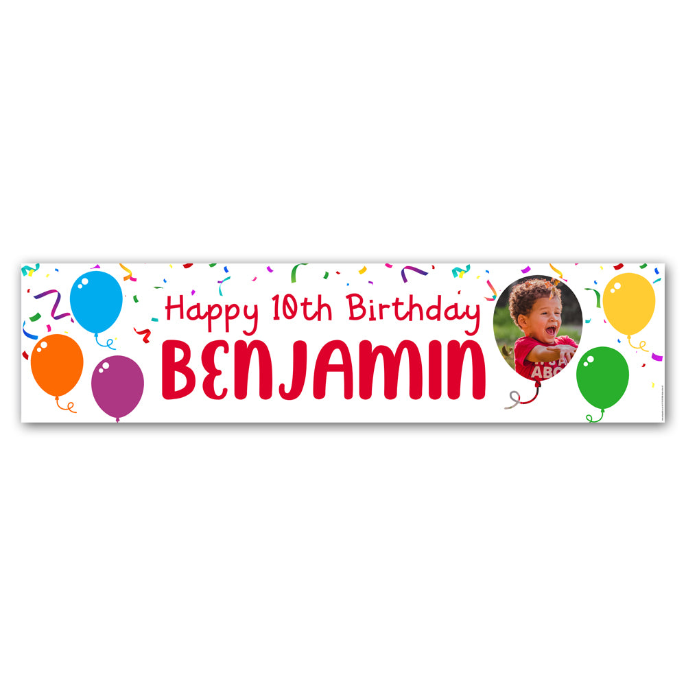 Birthday Balloons Personalised Photo Banner Decoration - 1.2m