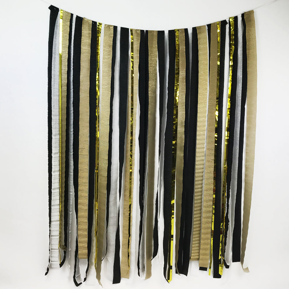 Black & Gold Paper Streamer DIY Backdrop Kit