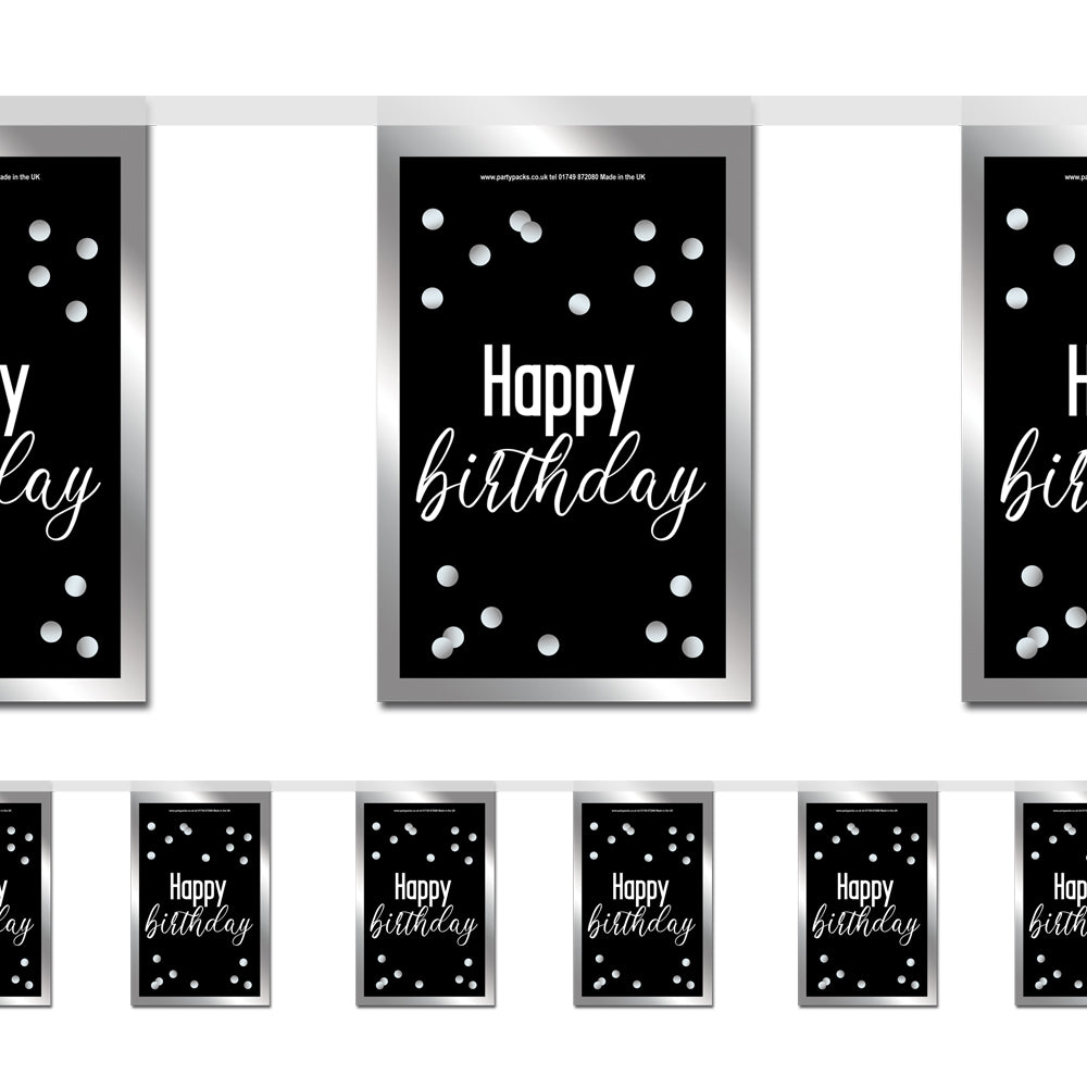 Glitsy Black & Silver Happy Birthday Paper Flag Bunting - 2.4m