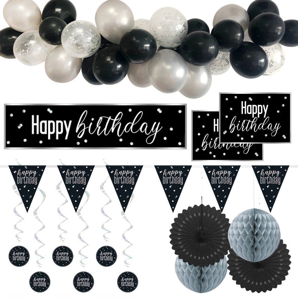 Black & Silver Glitz Happy Birthday Decoration Pack