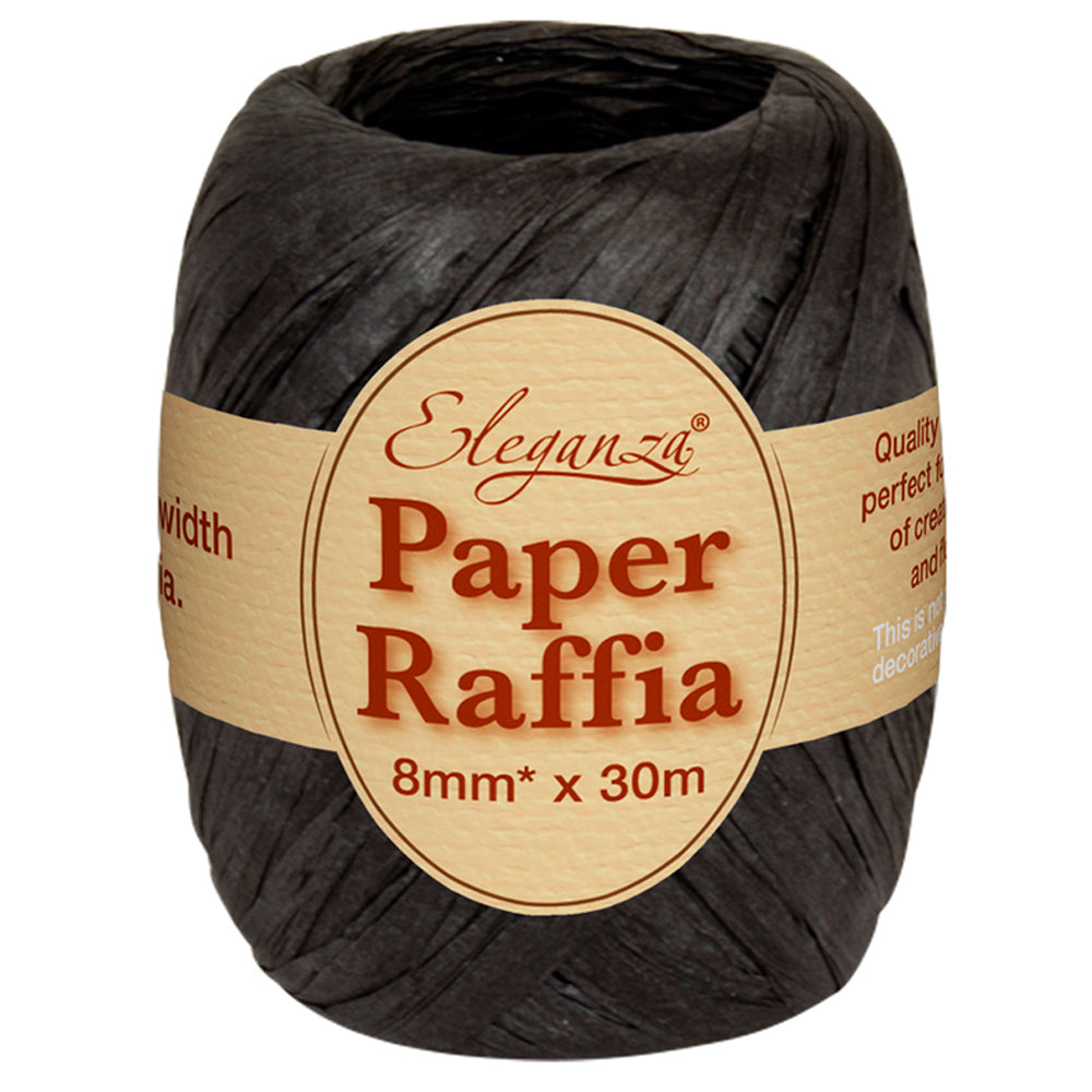 Roll of Black Paper Raffia - 30m
