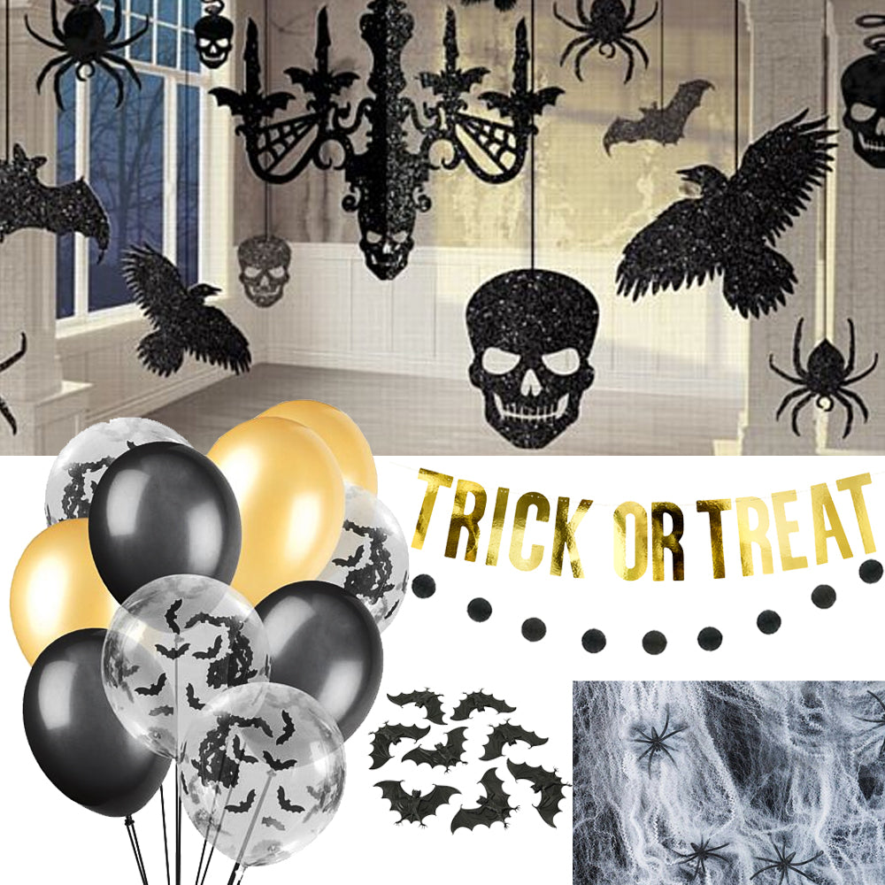 Stylish Black and Gold Halloween Decoration Pack