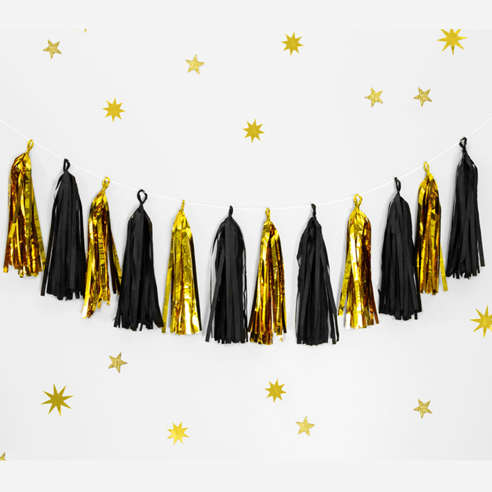 Gold and Black Tissue Tassel Garland - 1.5m