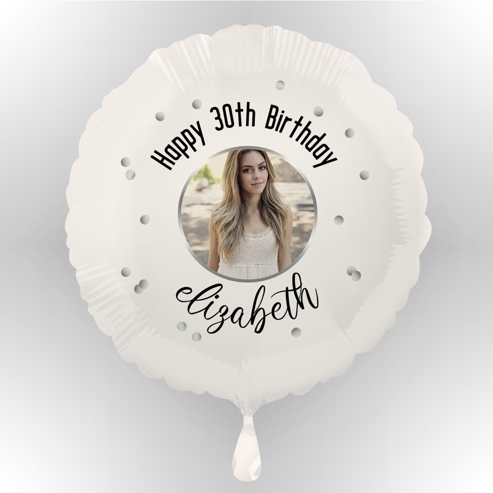 Glitz Black & Silver Personalised Photo Balloon