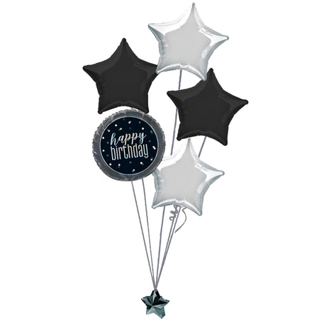 Black Birthday Glitz Balloon Bouquet
