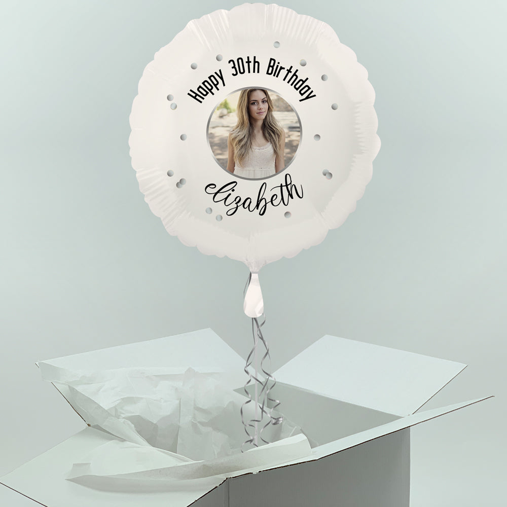 Inflated Personalised Photo Balloon -  Black & Silver Glitz