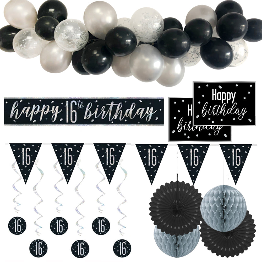 16th Birthday Black & Silver Glitz Decoration Pack