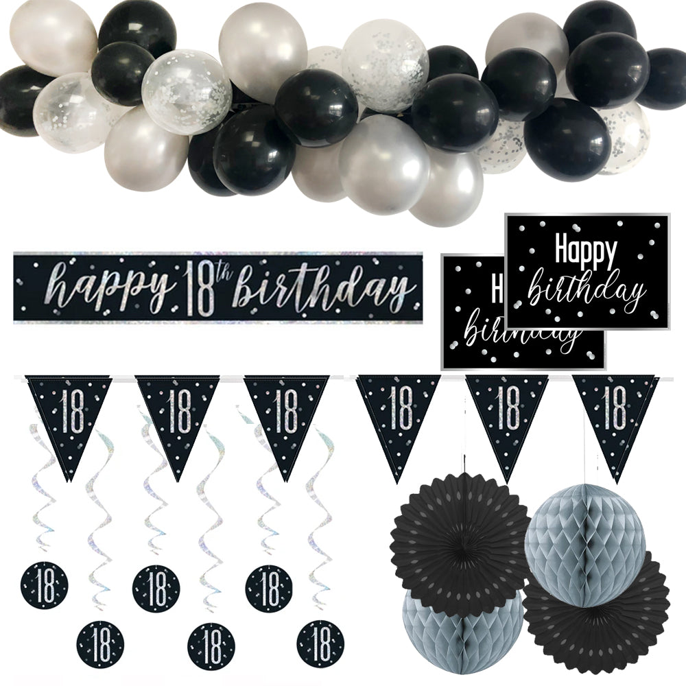 18th Birthday Black & Silver Glitz Decoration Pack
