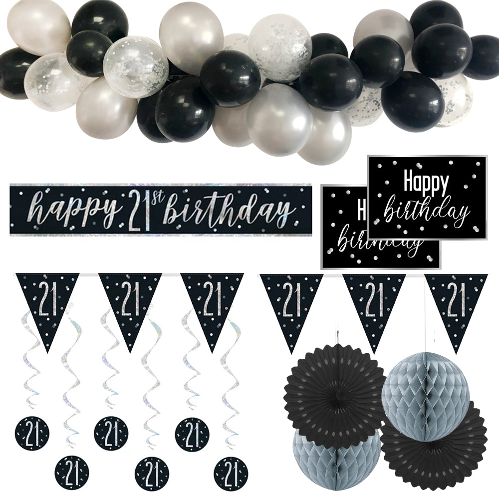 21st Birthday Black & Silver Glitz Decoration Pack