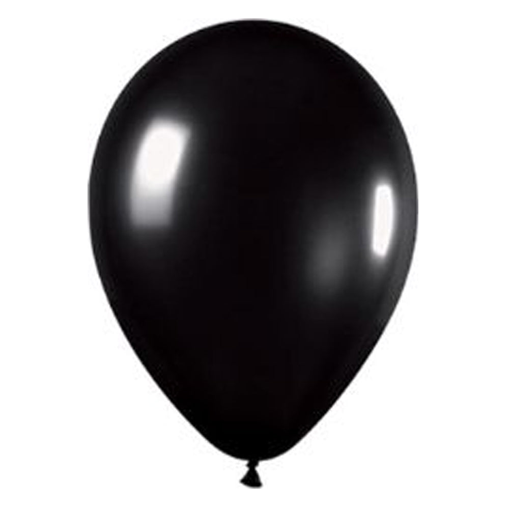 "Black Metallic Latex Balloons - 12"" - Pack of 50"