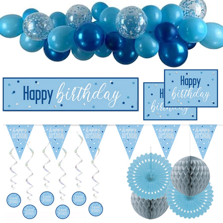 Blue & Silver Glitz Happy Birthday Decoration Pack