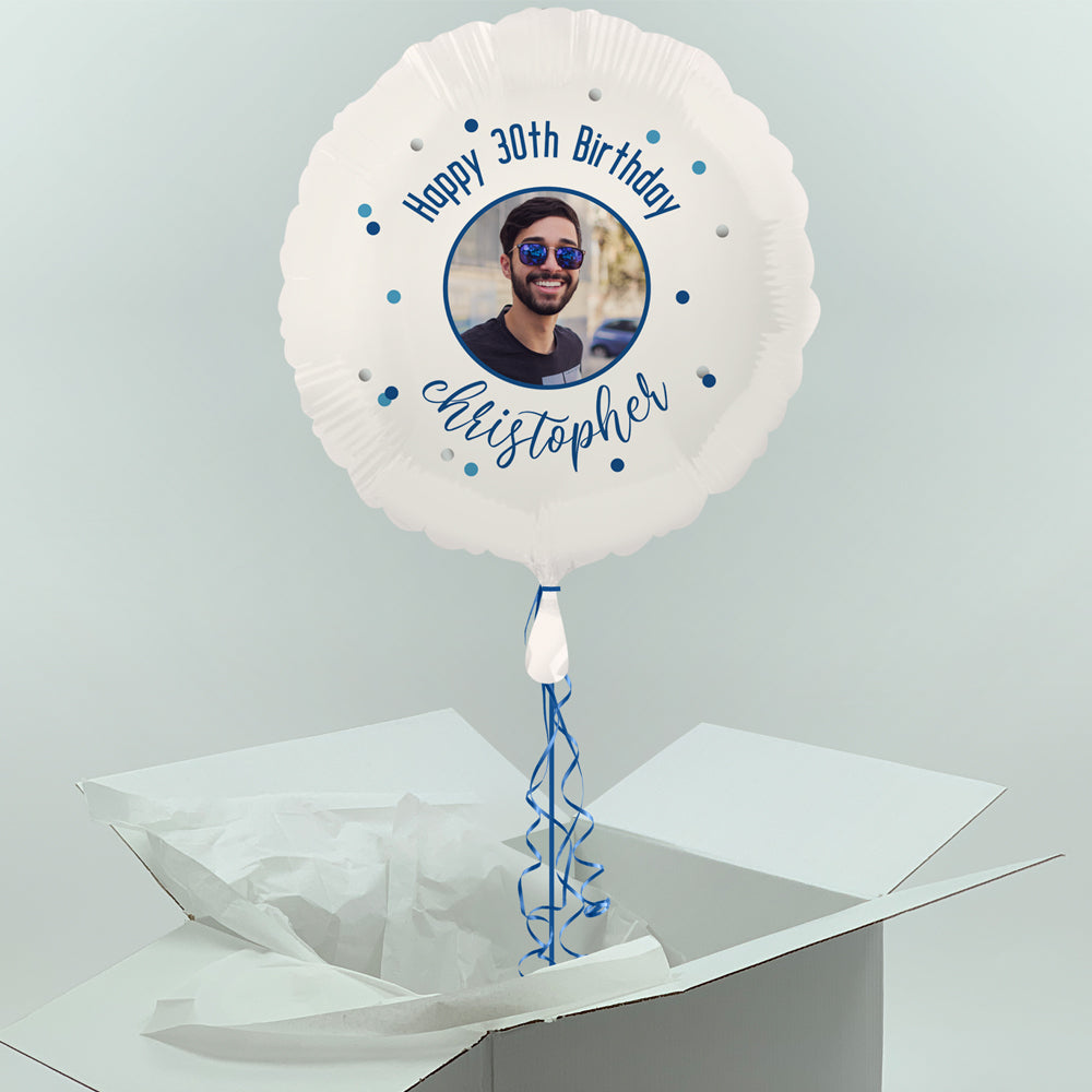 Inflated Personalised Photo Balloon -  Blue Glitz