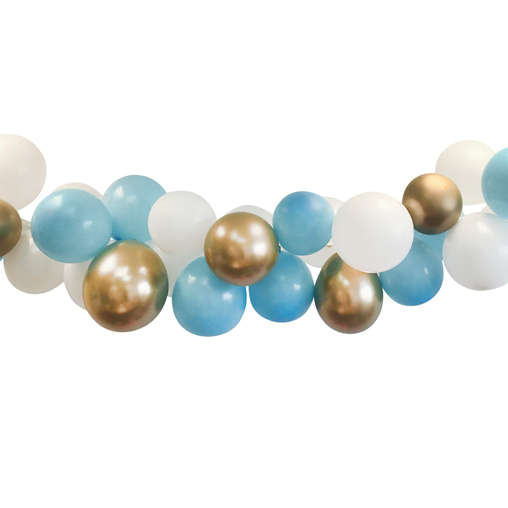 Blue, Gold and White Balloon Arch DIY Kit - 2.5m