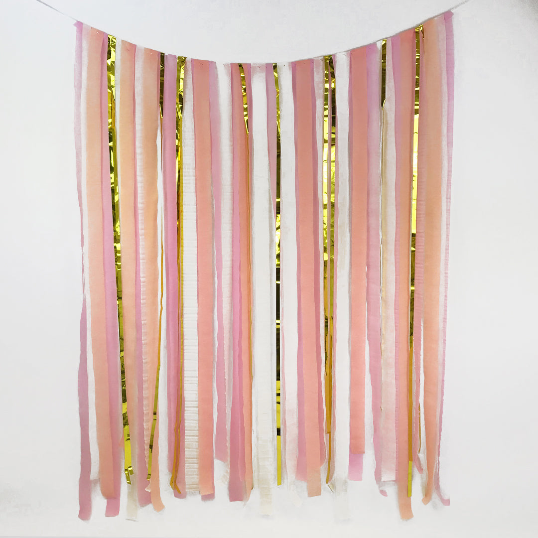 Blush, Pink & Gold Paper Streamer DIY Backdrop Kit