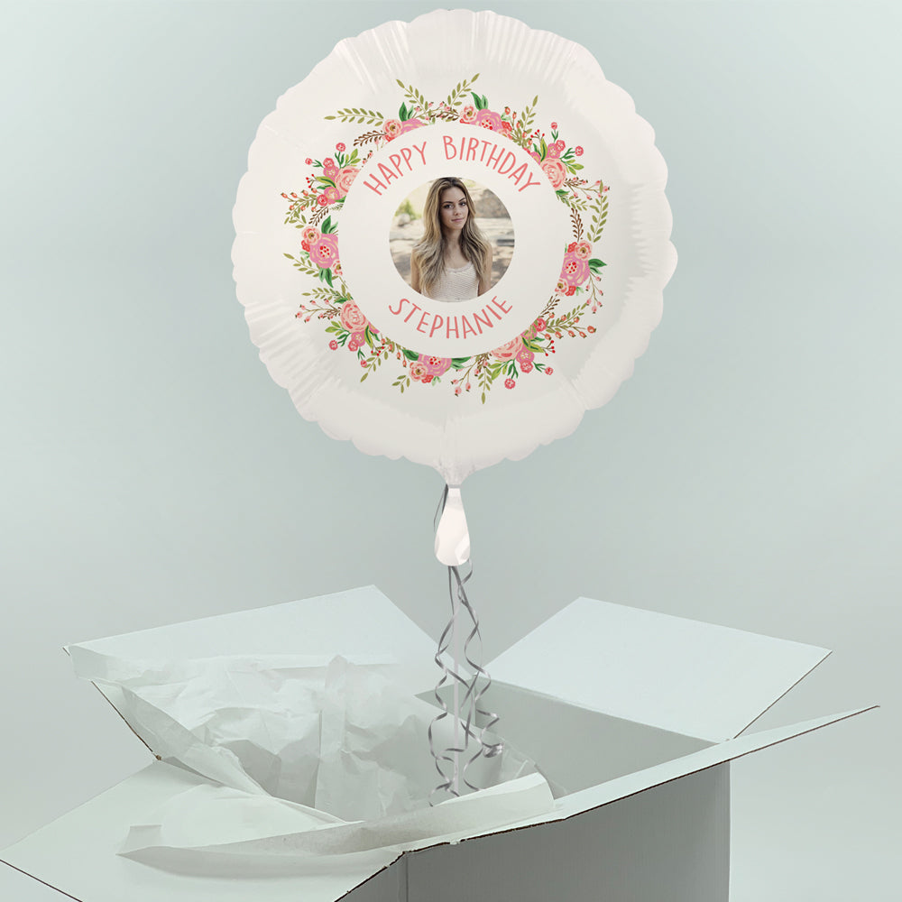 Inflated Personalised Photo Balloon-  Boho Flowers Design