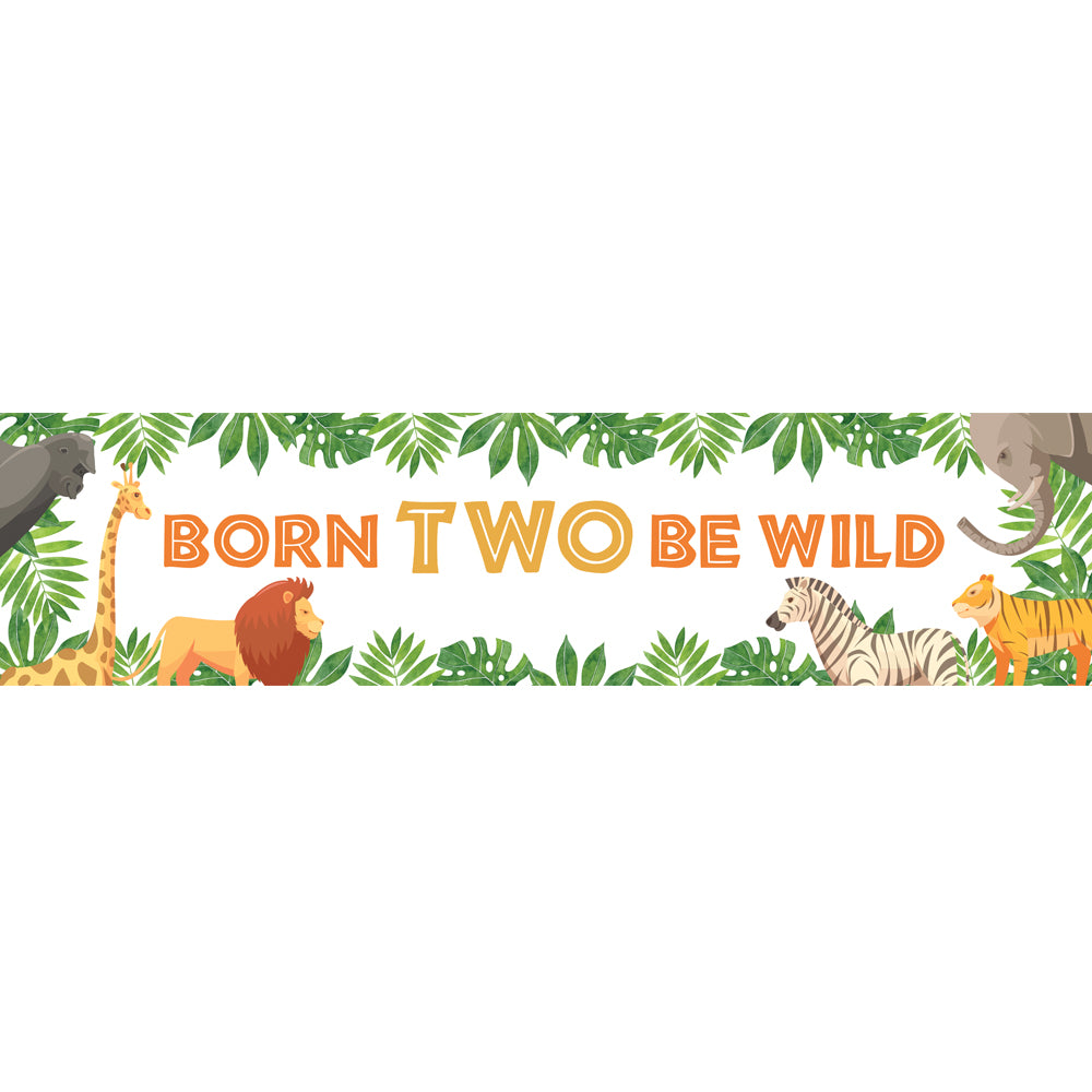 Born TWO Be Wild Jungle Animals Banner Decoration - 1.2m