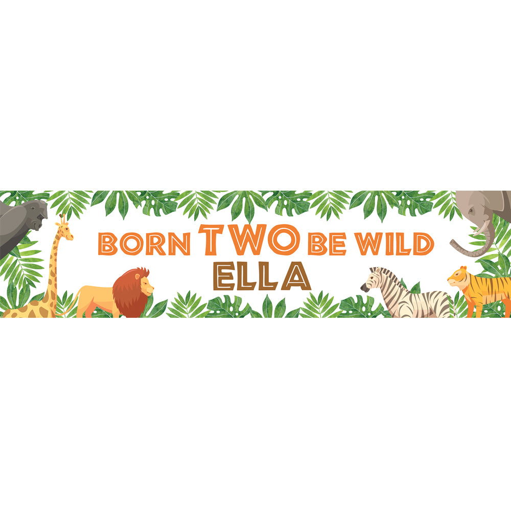 Personalised 'Born TWO Be Wild' Jungle Animals Banner Decoration - 1.2m