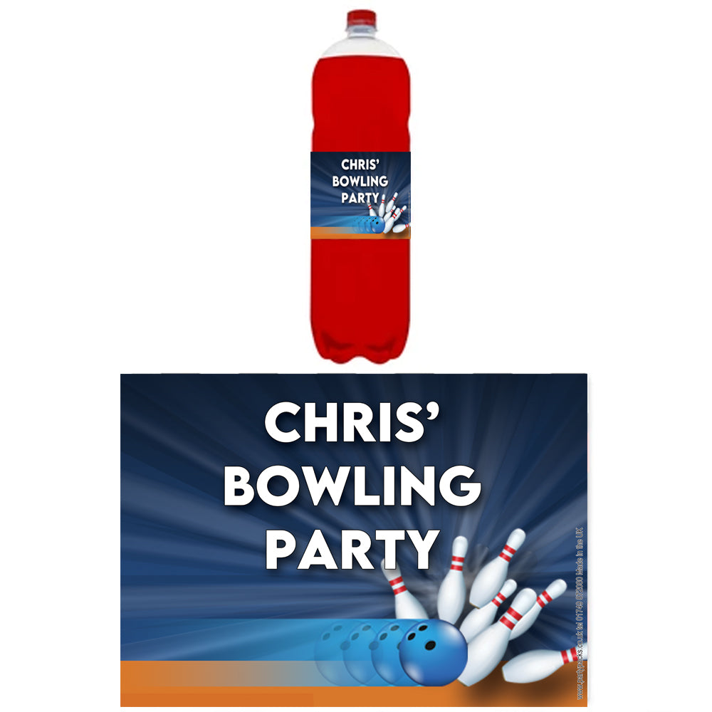 Personalised Bottle Labels - Bowling - Pack of 4