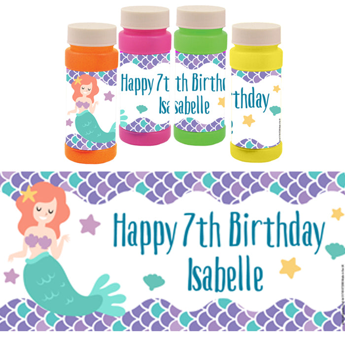 Personalised Bubbles - Mermaid - Pack of 6