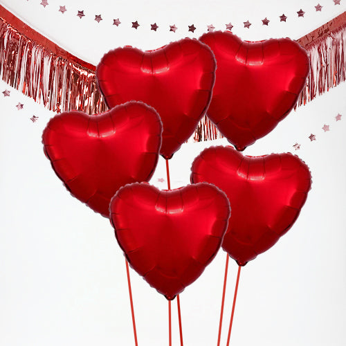 Inflated Valentine's Day Red Hearts Balloon Bundle in a Box