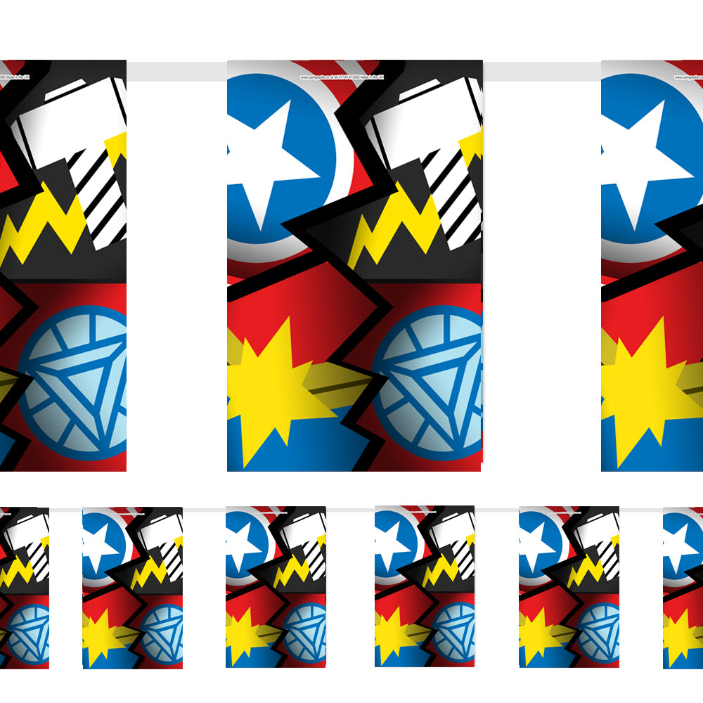Superheroes Assemble Paper Flag Bunting Decoration - 2.4m