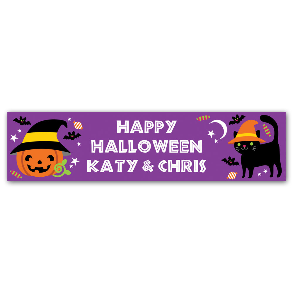 Cat & Pumpkin Halloween Personalised Banner Decoration - 1.2m