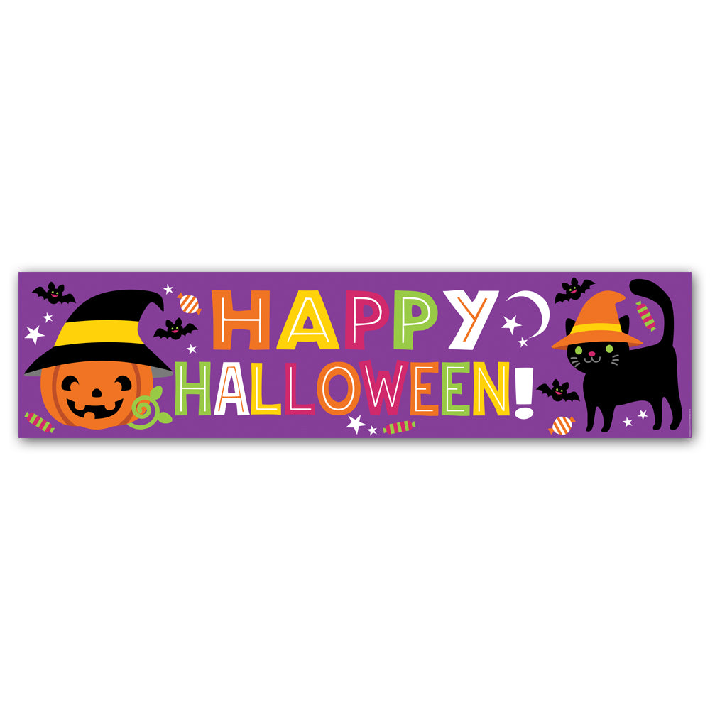 Cat & Pumpkin 'Happy Halloween' Banner Decoration - 1.2m