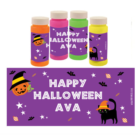 Personalised Bubbles - Cat & Pumpkin Halloween - Pack of 6