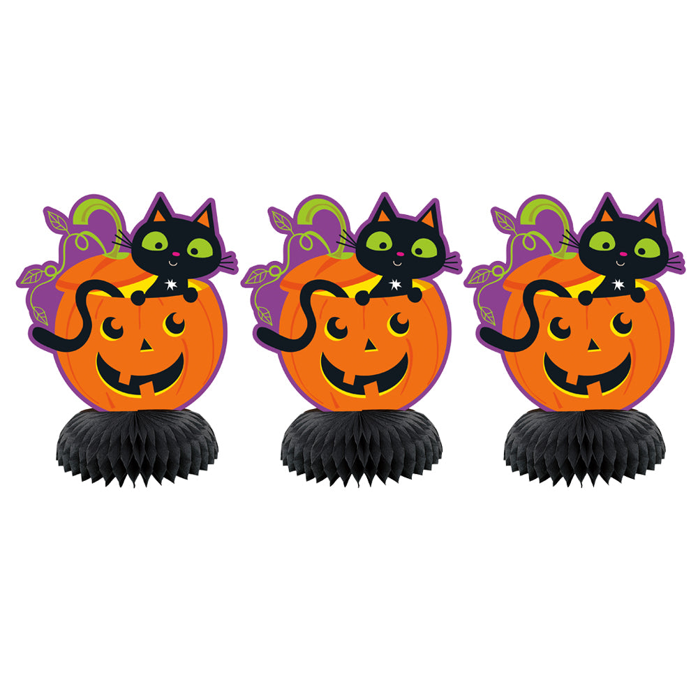 Cat and Pumpkin Mini Honeycomb Table Decorations
