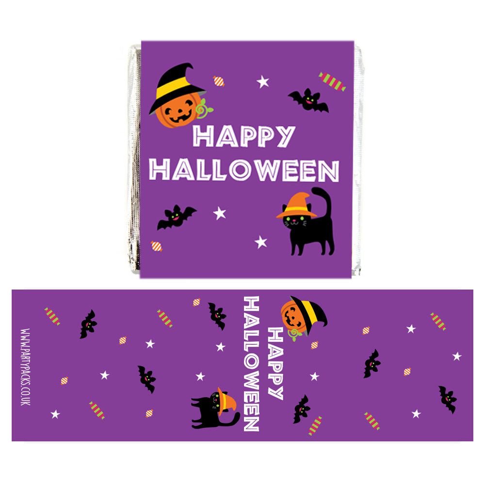 Square Chocolates - Cat & Pumpkin Halloween - Pack of 16