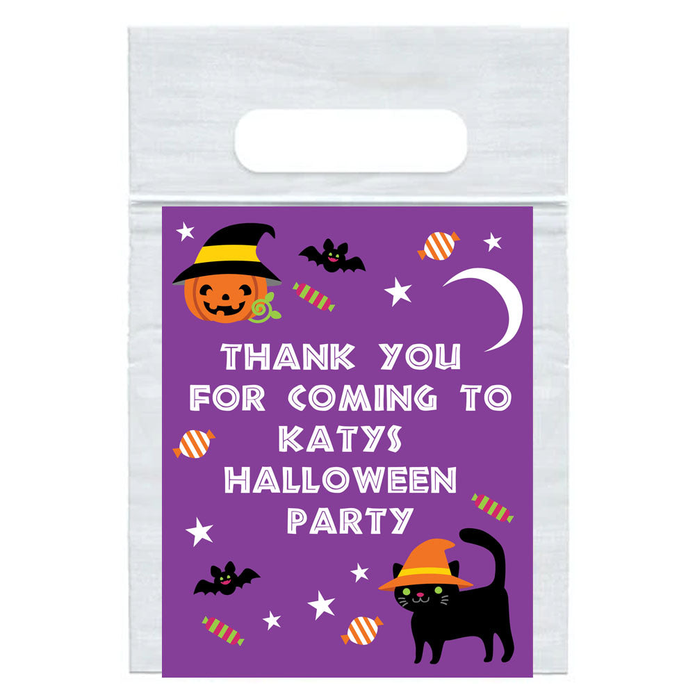 Personalised Cat & Pumpkin Halloween Card Insert with Sealed Party Bag - Each