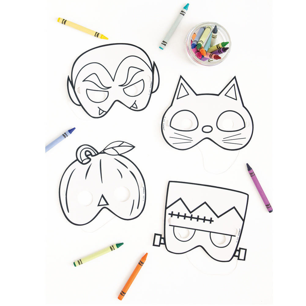 Colour Your Own Halloween Paper Masks - Pack of 8