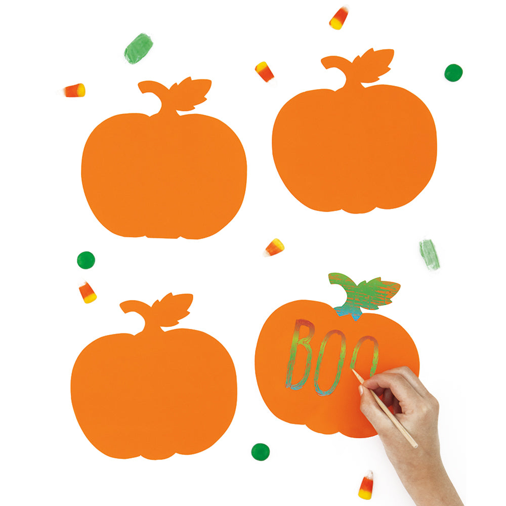 Pumpkin Scratch Art Halloween Activity Kit - Pack of 36