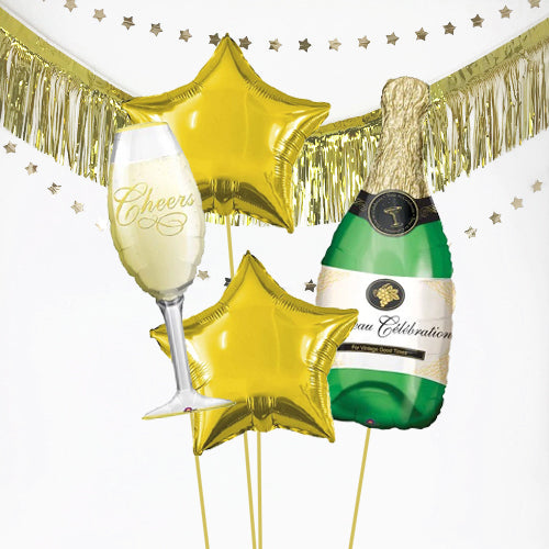 Inflated Champagne Bottle and Glass Celebration Balloon Bundle in a Box