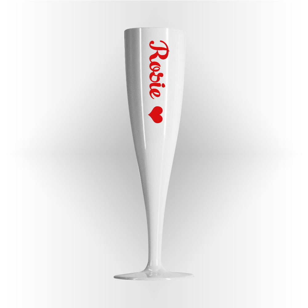 Red Text Valentine's Personalised Champagne Glass White - 175ml - Each