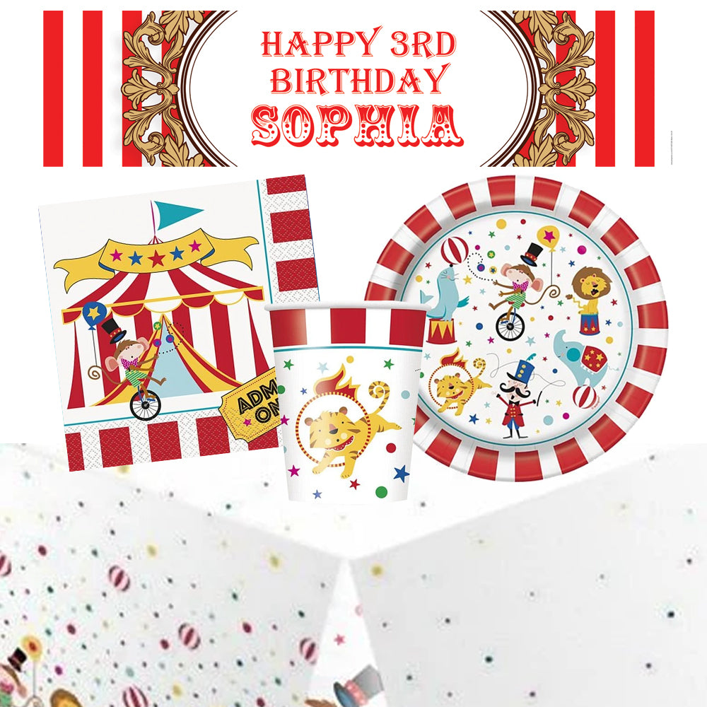 Circus Carnival Tableware Party Pack for 8 with FREE personalised Banner!