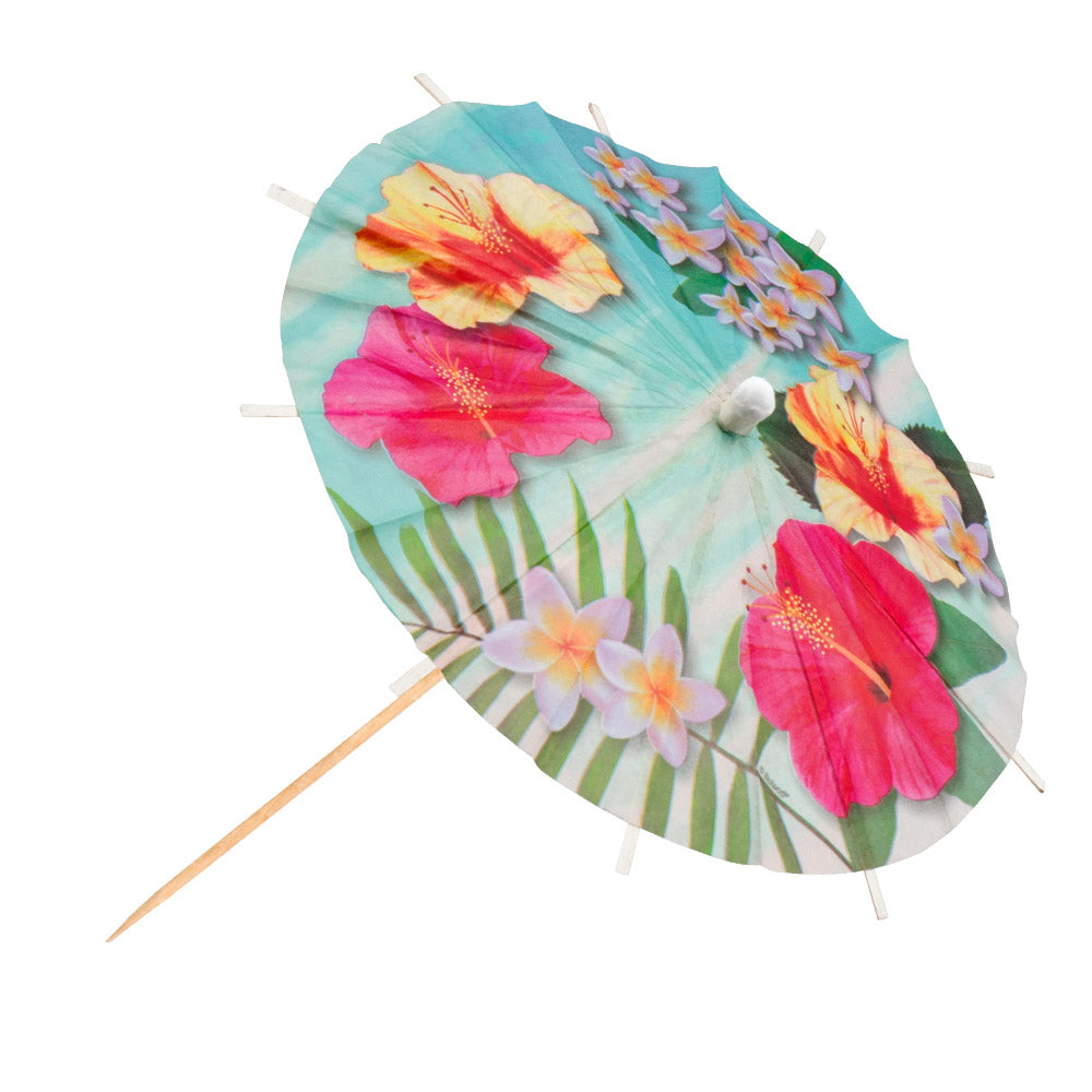 Tropical Paradise Cocktail Umbrellas - Pack of 6 -18 cm