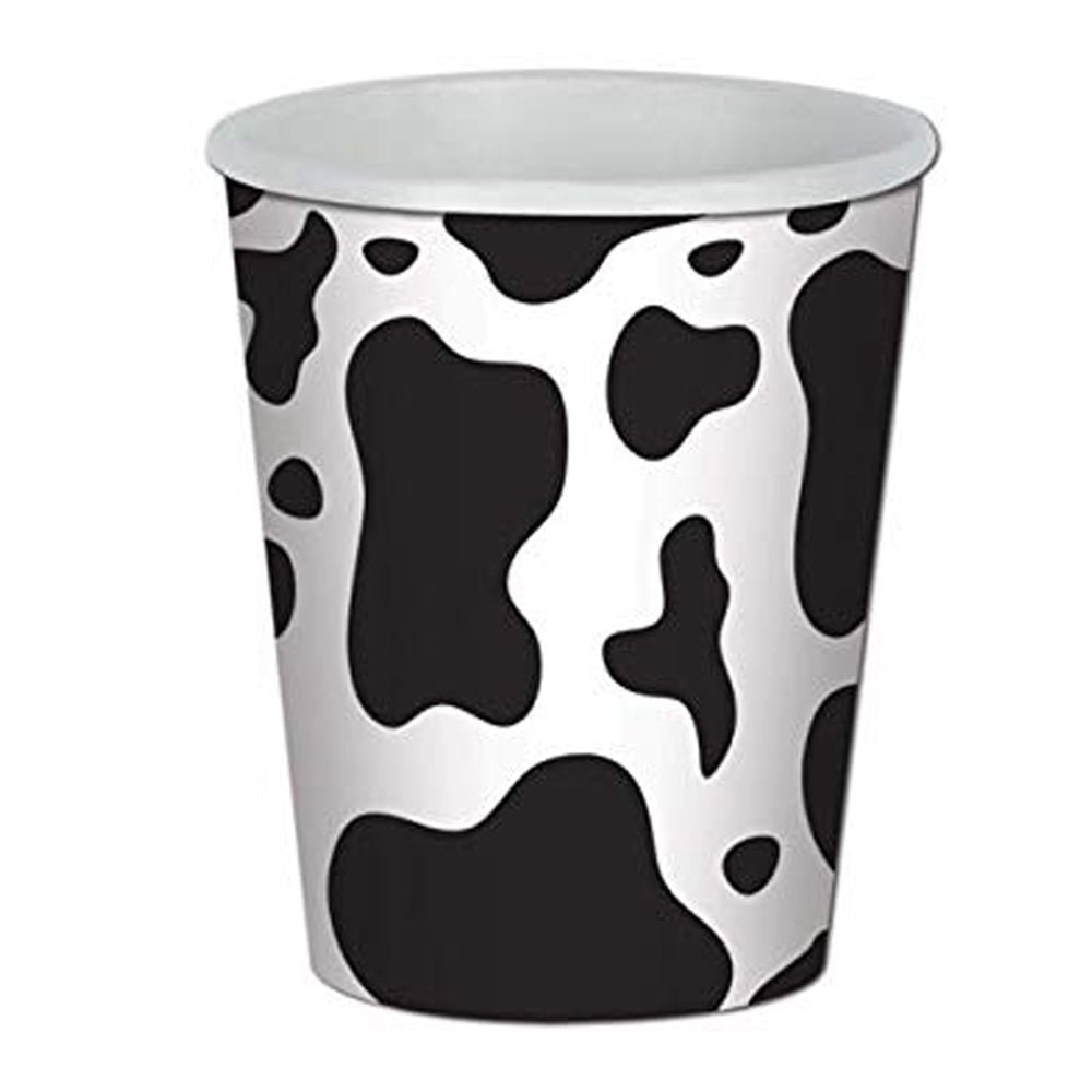 Cow Print Paper Cups - 9oz - Pack of 8