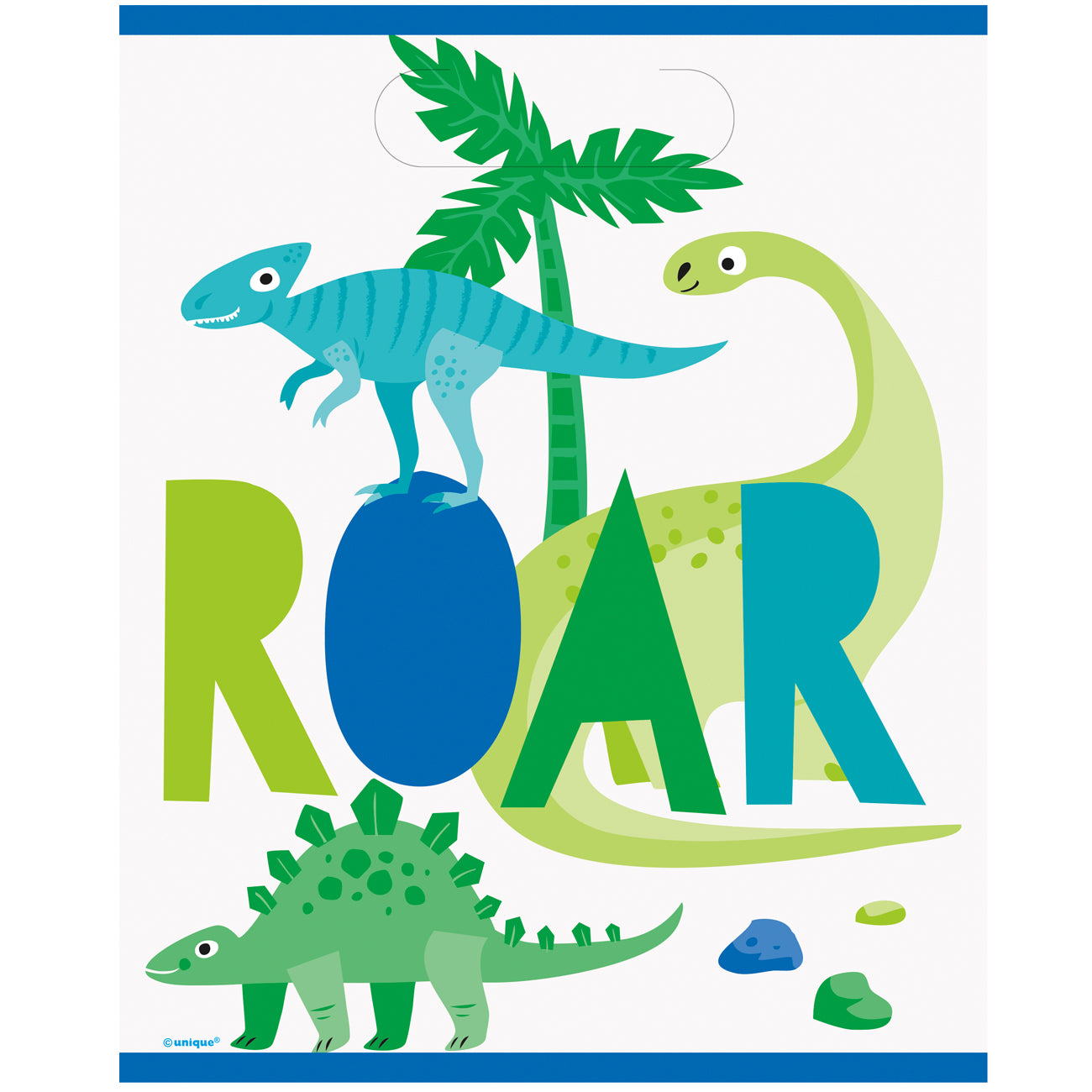 Blue and Green Dinosaur Party Bags - Pack of 8