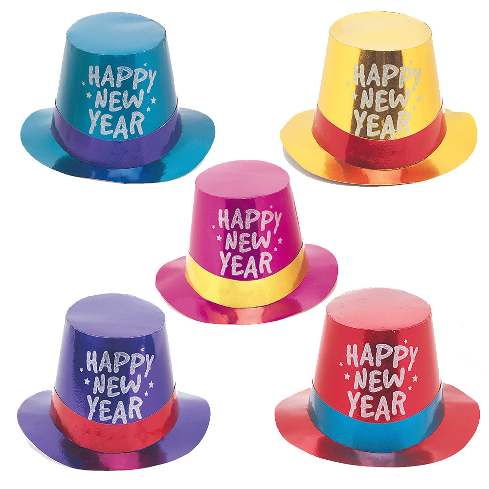 Happy New Year Foil Glitter Top Hat - Assorted - Each