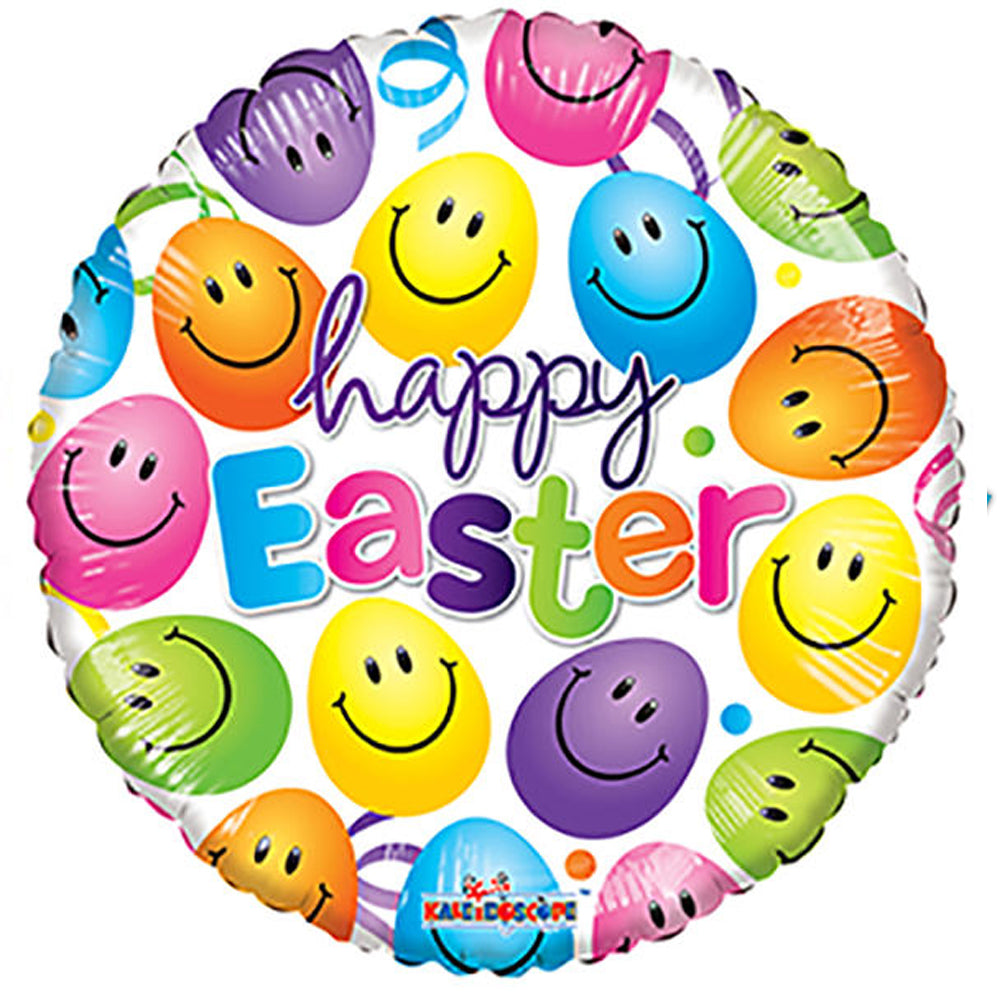 Happy Easter Smiley Foil Balloon - 18""
